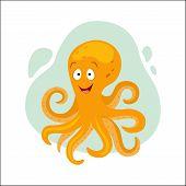 Cute Cartoon Orange Octopus Vector Illustration.  Sea Creatures Vector. poster