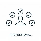 Professional Icon. Outline Style Thin Design From Influencer Icons Collection. Line Professional Ico poster
