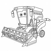 Coloring Page. Colouring Picture. Cute Cartoon Harvester Combine. Agricultural Farming Vehicle. Chil poster