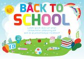 Back To School Background Poster. School Supplies On The Grass, Welcome Back To School Banner ,cute  poster
