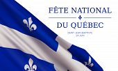 Vector Banner Design Template With Flag Of Quebec Province And Text On White Background.translation  poster