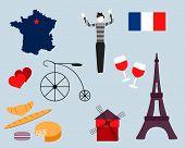 Set Of French Icons. Paris Sketch Illustration. Cartoon Paris Themed Images. Paris Symbols. Mime. Fr poster