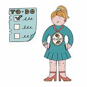 Woman With A Reward Medal With A Picture Of Icecream And Chocolate Next To A To-do List. Illustratio poster