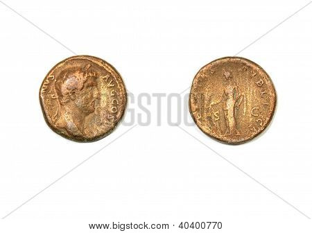 Ancient Roman coin on a white background. Emperor Hadrian and allegory of the civic pax