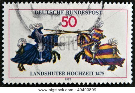 GERMANY - CIRCA 1975: A stamp printed in Germany honoing 500th Anniversary of Landshut Wedding (fest