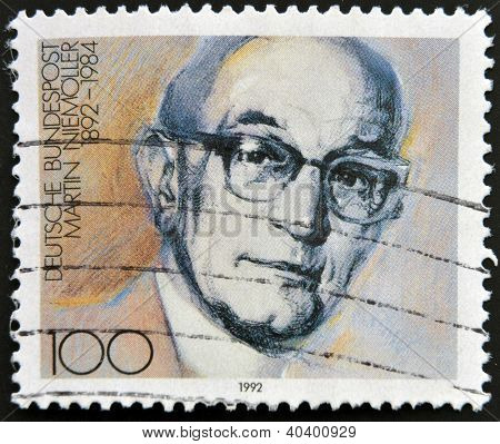 stamp printed in Germany shows Martin Niemoller Theologian