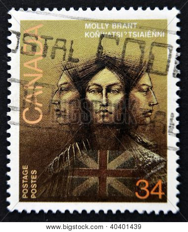 CANADA - CIRCA 1986: stamp printed in Canada shows Molly Brant Iroquois Leader and Loyalist