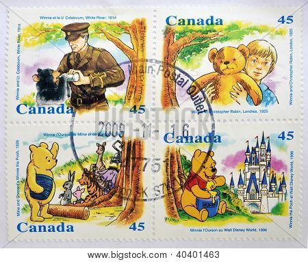 CANADA - CIRCA 1996: Four stamps printed in Canada shows Winnie the pooh circa 1996