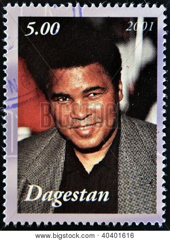 A stamp printed in Republic of Dagestan shows Muhammad Ali