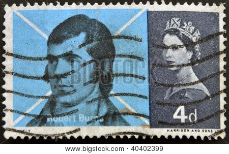 UNITED KINGDOM - CIRCA 1966: a stamp printed in Great Britain shows image of Scots poet Robert Burns