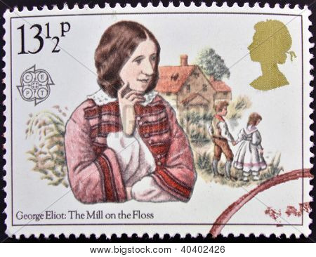 A stamp printed in Great Britain shows George Eliot's The Mill on the Floss