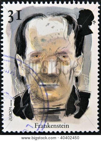 GREAT BRITIAN - CIRCA 1997: A stamp printed in United Kingdom shows a portrait of Frankestein circa
