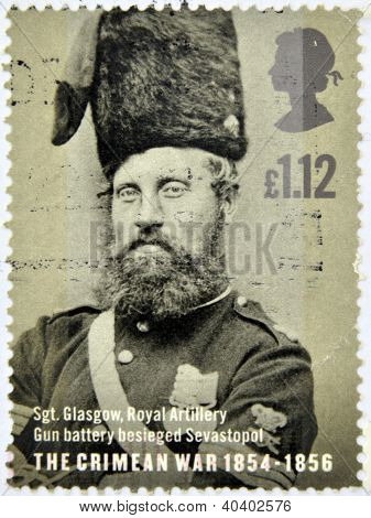 UNITED KINGDOM - CIRCA 2004: a stamp printed in Great Britain shows a portrait of Sergeant Glasgow w
