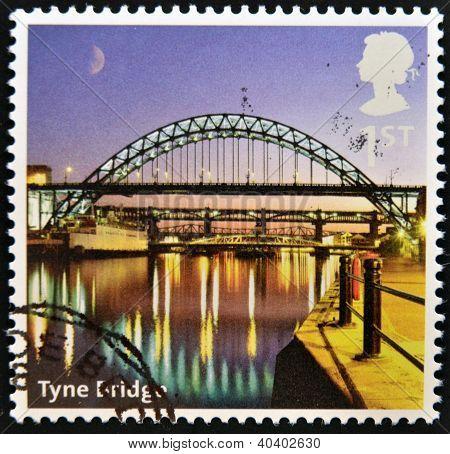 UNITED KINGDOM - CIRCA 2012: A stamp printed in Great Britain shows Tyne Bridge circa 2012