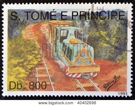 SAO TOME AND PRINCIPE - CIRCA 1993: A stamp printed in Sao Tome shows a train circa 1993