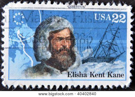 Vereinigte Staaten von Amerika - CIRCA 1986: Eine Briefmarke gedruckt in USA zeigt Elisha Kent Kane circa 1986