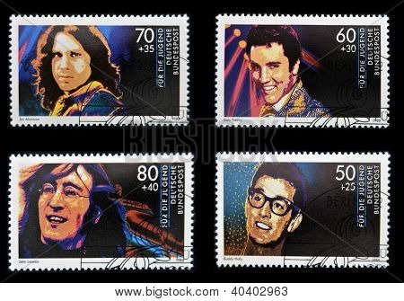 GERMANY - CIRCA 1988: Collection stamps printed in Germany dedicated to rock and roll shows John Len