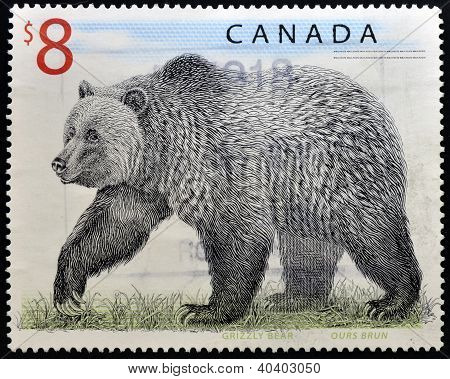 CANADA - CIRCA 1997: A stamp printed in Canada shows a Grizzly Bear circa 1997