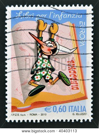 ITALY - CIRCA 2010: A stamp printed in Italy shows Pinocchio circa 2010