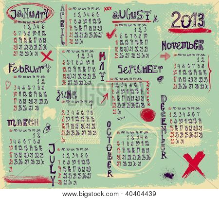 2013 Calendar - Twelve month calendar for 2013 in a grungy style