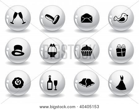 Web buttons, wedding icons