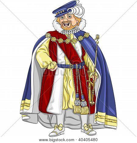 Vector Funny Fairytale Cartoon King Smiles