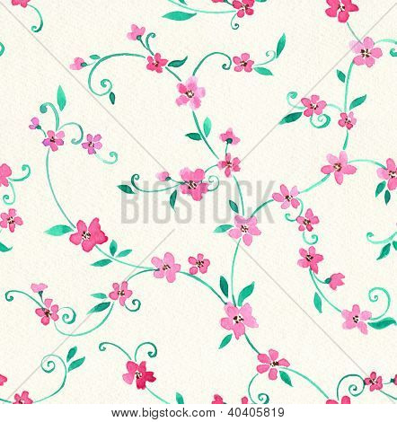 Watercolor seamless pattern with styled spring cherry blossoms