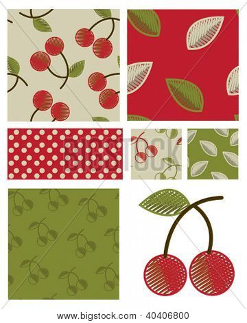 Contemporary Vector Cherry Seamless Patterns and icon.