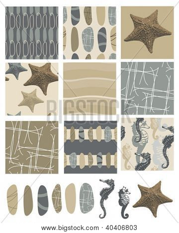 Beach style vector seamless patterns and icons.  Use as fills for digital paper, fabric or craft projects.