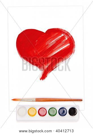 painted heart on sheet, watercolor set and brush