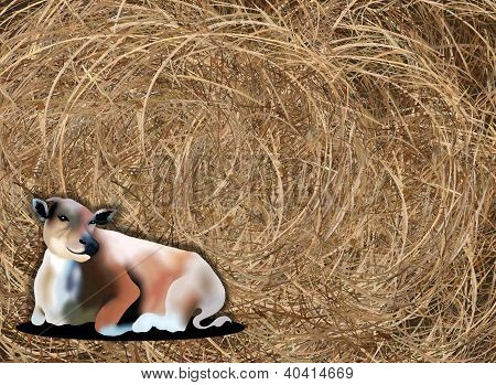 Hand Drawing Of A Cow On Haybale Background