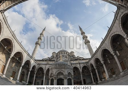 Courtyard Of The New Mosque In Istanbul
