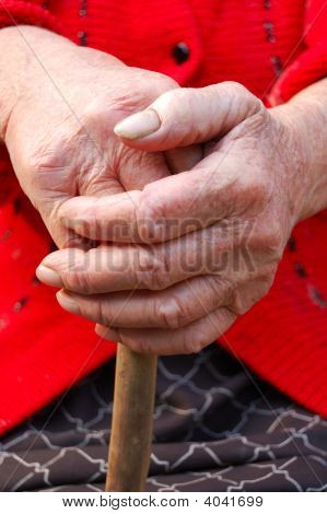 Old Woman Hands Leans On Walking Stick