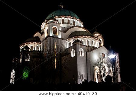 The Cathedral Of Saint Sava In Night (srb: Hram Svetog Save)