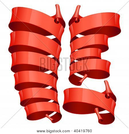 Red Glossy vector ribbons on a white background