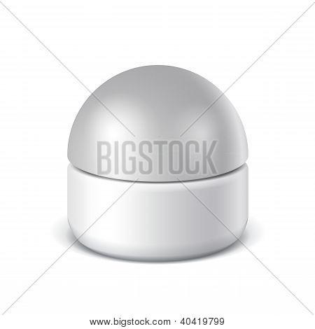 Realistic White ?osmetic cream jars. Vector illustration