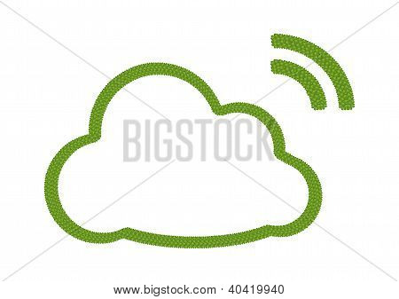 A Four Leaf Clover Of Cloud Icon With Rss Sign