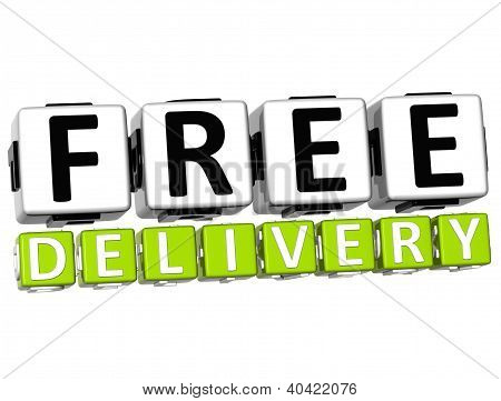 3D Free Delivery Button Click Here Block Text