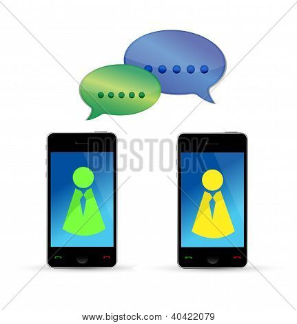 Modern Mobile Phones Communication Concept