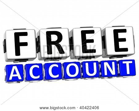 3D Free Account Button Click Here Block Text