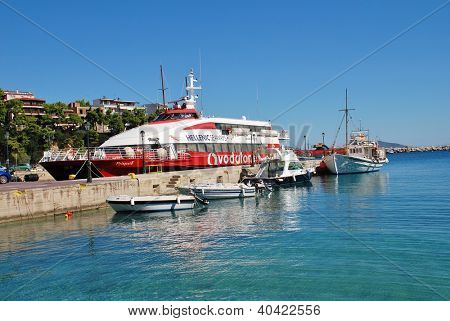 ALONISSOS, GREECE - SEPTEMBER 22: Boats moored in Patitiri harbour on September 22, 2012 on Alonissos island, Greece. Patitiri dates from 1965 after the old town of Hora was devasted by an earthquake.