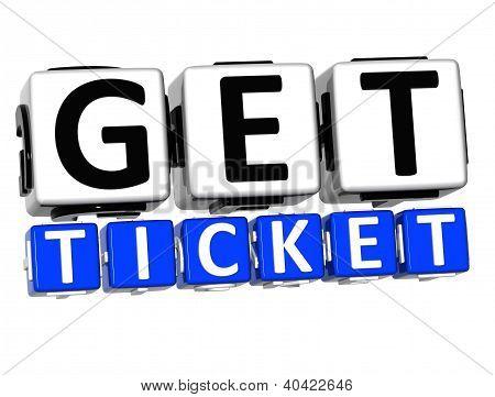 3D Get Ticket Button Click Here Block Text