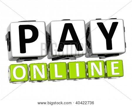 3D Pay Online Button Click Here Block Text