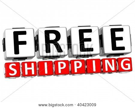 3D Free Shipping Button Click Here Block Text