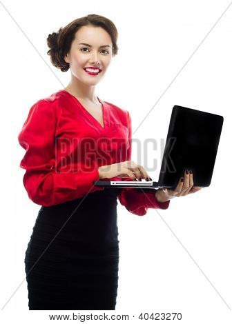 portrait of attractive  caucasian smiling woman isolated on white studio shot looking at camera notebook laptop computer