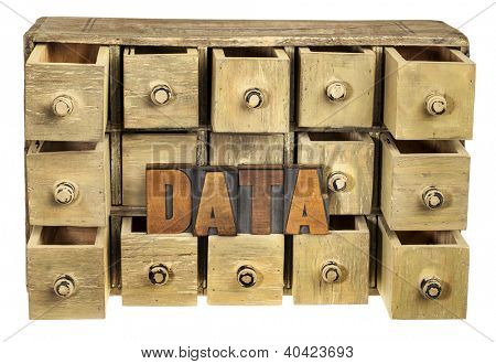 data storage concept - data word in vintage letterpress wood type and primitive rustic wooden apothecary or catalog drawer cabinet