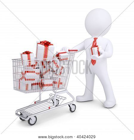 3D White Man With A Cart Of Gifts