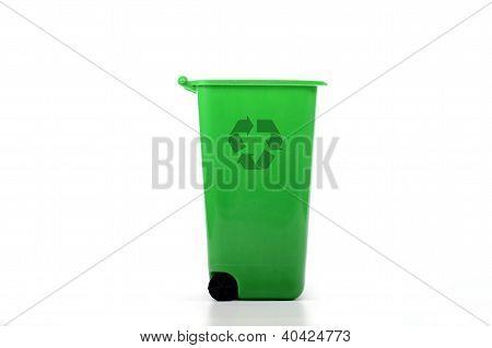 Empty Green Plastic Recycle Bin Isolated