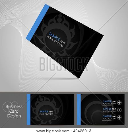 Stylish dark business card template, vector
