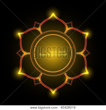 Burning shiny lotus background vector
